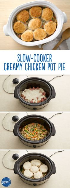 Chicken pot pie made in a slow-cooker -- it couldn't get any easier! This biscuit-topped beauty delivers on pot pie flavor without the hassle. Simply turn on the crock pot for a flavorful dinner at the end of the day. Chicken Pot Pie Recipe Crockpot, Chicken Pot Pies, Crockpot Meals, Crockpot Potpie, Slow Cooker Chicken Easy, Crock Pit Recipes, Chicken Crock Pot Meals, Chicken In The Crockpot, Slow Cooker Dinners