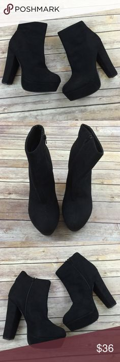 Faux Suede Chucky heel ankle Boot platform Excellent condition. Like new. Worn once. Forever 21 Shoes Ankle Boots & Booties
