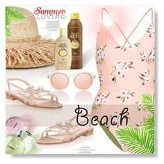 """Beach Bum..."" by desert-belle ❤ liked on Polyvore featuring Topshop, Lola, Manolo Blahnik, Le Specs, Sun Bum, beachday and polyvoreeditorial"