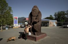 Richard Carpenter, a Native American living at the nearby Hoopa reservation, rests with his dog Jim at the Bigfoot statue at the Patriot gas station in Willow Creek, Calif., on Saturday, May 2, 2015. (LiPo Ching/Bay Area News Group)