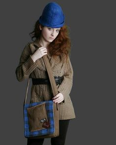 upcycled wool suit messenger bag