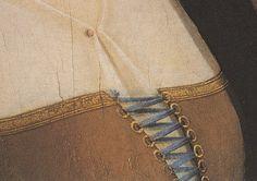 Lacing rings - Ginevra de' Benci by Leonardo da Vinci, painted c. 1474/1478. [See: http://www.nga.gov/collection/gallery/gg6/gg6-50724.html]