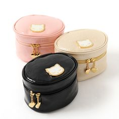 Keep all of your accessories and makeup together in this stylish **enamel vanity case!** **Embossed** with the adorable character **Pooh-chan,** the attractive design is available in **pink, black,** and **beige,** and is roomy enough for all of your essentials!  In addition to the **large main pocket**, the top has **small slots** for narrow things like mascara or lipstick. Keep it in your hous... #jfashion #kawaii