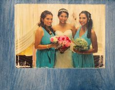 Wedding Photo on Wood, Bridesmaid Gift, Wedding Party Gift, Wedding Photo Transfer in Wood, Custom Wedding Photo on Wood, Bridal Party Gift, Rustic Bridal Portrait, Rustic Wood Photo. TURN YOUR PRECIOUS MEMORIES INTO WOOD TREASURES! Hand-crafted Wood Photo Transfers begin with your photos in digital form (you can email them to me). Then, using an artistic process, the image of your original photograph is ingrained and sealed into the wood. The natural grain of the wood shows through light...
