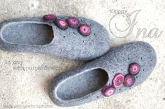 Wool slippers/ home shoes INA in grey with purple by zavesfelt, $71.00