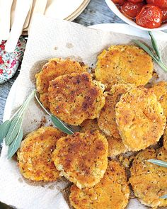 Try these White Bean and Sage Patties with roasted tomato sauce, Wholeliving.com #healthylunches