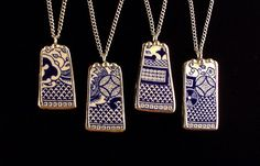 Matching necklaces made from a broken Blue Willow plate by Dishfunctional Designs