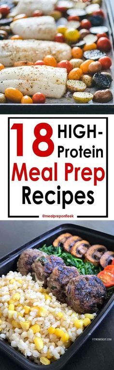 High Protein Recipes - 18 awesome high protein meal prep recipes. Easy and healthy recipes for lunch meal prep or dinner meal prep. #mealprep #highprotein #healthymeals #healthyrecipes