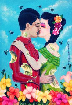 Vendido, solo quiero comerte a besos, pareja, lowbrow, couple, kiss, beso, comerte, fruit, kitsch, Apple, pear, flowers, bees, mexican, culture, flores, abejas, art, pop art, surreal, surrealism, by Jorge D. Espinosa