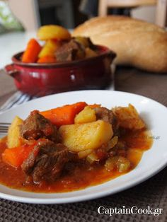 Braised Beef with Potatoes and Carrots Cookbook Recipes, Meat Recipes, Cooking Recipes, Healthy Recipes, Greek Cooking, Braised Beef, Greek Recipes, Different Recipes, Kitchens