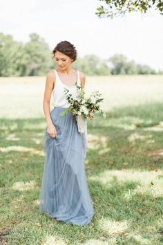 two pieces silver tulle bridesmaid dress /