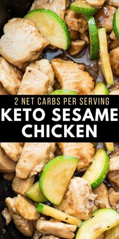 This Keto Sesame Chicken Stir Fry features thinly sliced chicken and zucchini with a rich Asian sauce. At just 2 net carbs per serving and ready in 30 minutes this is the ultimate easy low carb meal! Stew Chicken Recipe, Easy Crockpot Chicken, Chicken Stir Fry, Chicken Recipes, Keto Chicken, Keto Stir Fry, Healthy Stir Fry, Eat Healthy, Ketogenic Recipes