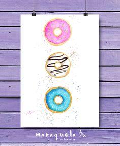 DOUGHNUTS ILLUSTRATION in watercolor. Fanny DONUTS painted, wall , Bright, vibrant colors. Modern Fashion Room Decor, cake, food art prints. DONUT Acuarela original. DONUTS glaseado y chocolate, colores vibrantes. Ilustración donut, lamina y decoracion alegre, estilo, arte moderno