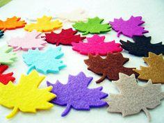 10 Piece Set  Thick Felt Leaves by MadeByOzras on Etsy, $3.00