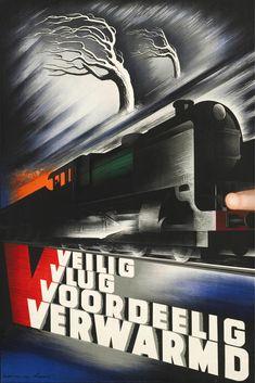 Affiche winter op het spoor, 1938 | Kees van der Laan (Spoorwegmuseum Utrecht)