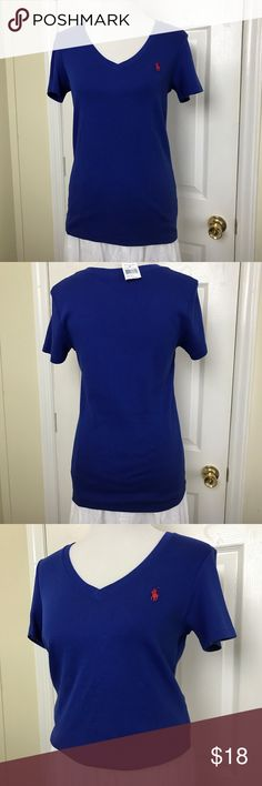 "Ralph Lauren Sport Ralph Lauren Sport V-Neck T-Shirt. Embroidered Pony accents the chest. Slim fit, preppy style. Shoulders 16"", Chest pit to pit 17"", Length 25.5"". NWT Ralph Lauren Skirt sold separately. Ralph Lauren Tops Tees - Short Sleeve"
