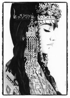 Iconic woman - Armenian beauty, watercolor, 20 x 30 cm