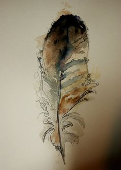 watercolor feather by George Kinghorn