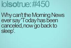 Why can't the morning news ever say 'today has been canceled, now Life Quotes Love, Quotes To Live By, Best Quotes, Funny Quotes, Lolsotrue Quotes, Laughed Until We Cried, I Laughed, Intj, Affirmations