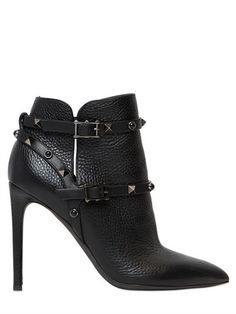 VALENTINO 100MM ROCKSTUD ROLLING LEATHER BOOTS