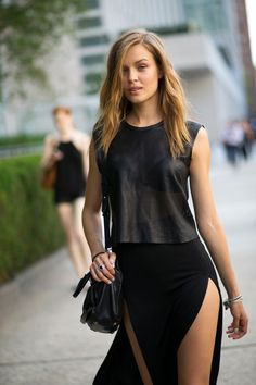30th April 2016 -Chic Milan Street Style. Leather top with a line skirt with slits - Italian Fashion