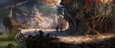 Aqueos by *Wildweasel339 on deviantART tree inn is built around/connected to trees or trees somehow grew around it