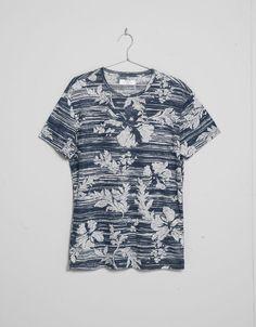 T-shirt estampada flores riscas - T-shirts - Bershka Portugal