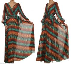 TURQUOISE Tiki Tribal SHEER FULL SWEEP Chiffon Wrap MAXI DRESS Long CRUISE XL #tamarstreasures #Maxi #Formal