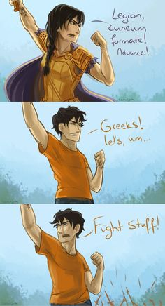 "Let's Fight Stuff! by taratjah.deviantart.com on @DeviantArt | ""They yelled like banshees and charged. Jason grinned. He loved the Greeks. They had no organization whatsoever, but they made up for it with enthusiasm."""