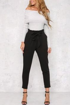 Tie Waist Cropped Trousers – Behind Hemlines Work Fashion, Fashion Pants, Daily Fashion, Fashion Outfits, Womens Fashion, Style Fashion, Classy Outfits, Fall Outfits, Casual Outfits