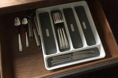 organize those messy kitchen drawers for kitchen design, organizing, storage ideas, woodworking projects Silverware Drawer Organizer, Kitchen Drawer Organization, Kitchen Drawers, Messy Kitchen, Big Kitchen, Kitchen Design, Kitchen Upgrades, Kitchen Hacks, Kitchen Ideas