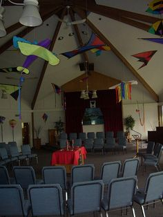 Pentecost Sunday - kites lifted on the winds of the Spirit!  Great idea using kites in the sanctuary.