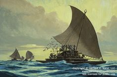 Painting of Prao Ndrua of Fiji Islands Moana, Fiji Culture, Sailboat Art, Outrigger Canoe, Polynesian Art, Hawaiian Art, Fiji Islands, Marquesan Tattoos, Boat Plans