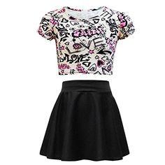 Kids Girls Love Graffiti Crop Top & Black Skater Skirt Set 7 8 9 10 11 12 13 Yr a2z4kids http://www.amazon.com/dp/B00TLXFJTY/ref=cm_sw_r_pi_dp_mIxaxb0BG23S3