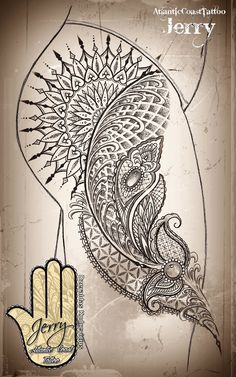 Mandala thigh tattoo idea design with beautiful lace and mendi patterns, dotwork. By Dzeraldas Kudrevicius, Atlantic Coast Tattoo, Newquay Cornwall.