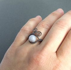 Blue lace agate ring copper rustic jewelry by VeraNasfaJewelry