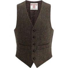 Peter James Gilet Brown Check Harris Tweed