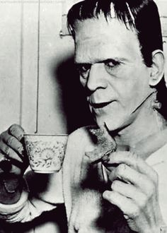 "CelebriTEA:  Boris Karloff's tea time on the set..... Cute pic to use in a ""monster diner"" themed party"