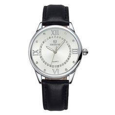 SKONE 36mm Rhinestone Wrap Watches for Women with Roman Numerals Leather Strap #SKONE #Luxury