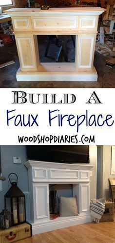 DIY Furniture: Build your own faux fireplace with hidden storage--DIY fake fireplace--Woodshop Diaries Fireplace Pictures, Fake Fireplace, Fireplace Ideas, Fireplace Remodel, Country Fireplace, Fireplace Outdoor, Farmhouse Fireplace, Fireplace Hearth, Fireplace Design