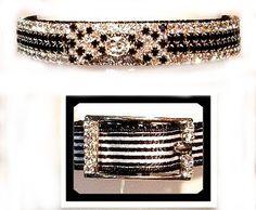 Black & White Bowtie Swarovski Crystals Dog Collar