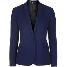 TopShop Luxe Suit Jacket ($92) ❤ liked on Polyvore featuring outerwear, jackets, navy blue, navy blue jacket, topshop, topshop jacket, navy jacket and blue jackets