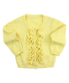 Look at this #zulilyfind! Yellow Ruffle Button-Up Cardigan - Infant, Toddler & Girls #zulilyfinds