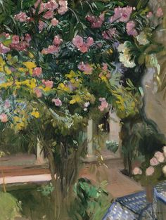 Oleanders in the Patio of the Sorolla House - Joaquin Sorolla y Bastida (Valencia, Spain, Spanish Painters, Spanish Artists, Monet, Modern Art, Contemporary Art, Giovanni Boldini, Georges Seurat, Mary Cassatt, Pierre Auguste Renoir