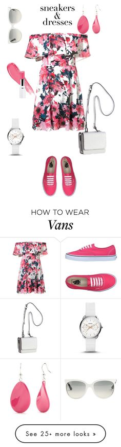 """""""Sneakers + dress"""" by kenga08 on Polyvore featuring Black Halo, Kendall + Kylie, Kim Rogers, FOSSIL, Vans, Ray-Ban and SNEAKERSANDDRESSES"""