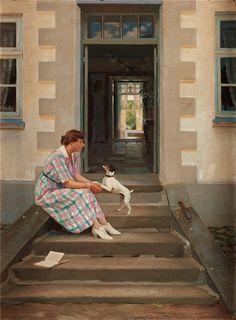 GEORG HARALD SLOTT-MÖLLER A woman and her dog