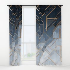 Blue and gold geometric pattern Window Curtains ($80) ❤ liked on Polyvore featuring home, home decor, window treatments, curtains, gold home accessories, blue draperies, gold home decor, yellow gold curtains and gold curtains