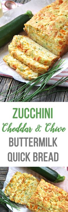 This Zucchini, Cheddar Cheese & Chive Buttermilk Quick Bread is a great addition to your dinner table! In about 1 hour you can have fresh baked bread to serve alongside your soups, stews or casseroles. New Recipes, Vegetarian Recipes, Cooking Recipes, Favorite Recipes, Healthy Recipes, Recipies, Bread Recipes, Quick Recipes, Instant Recipes