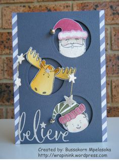 Christmas card, Stampin' Up! Jolly friends