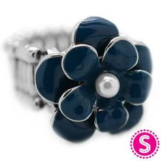 Silver & Blue Stretchy Band Flower Ring #$5 $Paparazzi $5 Jewelry
